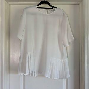 Zara women's off white flowy top with pleats XL